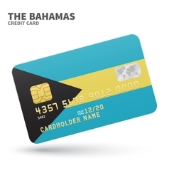 Credit card with bahamas flag background for bank vector