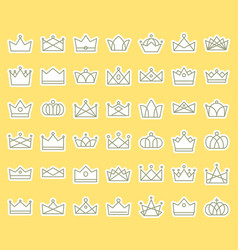 crown outline icon sticker set in flat design vector image