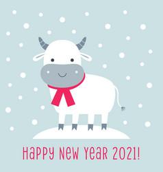 cute cartoon bull symbol year 2021 vector image