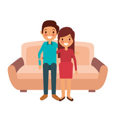 Cute couple parents together sitting in the sofa vector