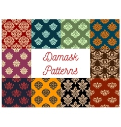 Damask floral pattern set flowery ornament vector image vector image