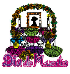 day of the dead altar de muertos 2 vector image