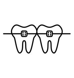 Dental braces line icon with editable stroke vector