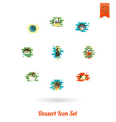 Dessert icon set in modern flat design style vector