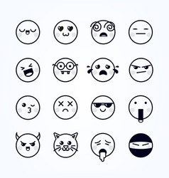 different cute emojis funny emoticons set vector image
