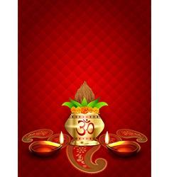 Diwali diya and kalash vector