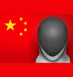 fencing helmet and chinese flag vector image