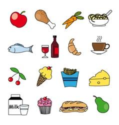 food icon set vector image