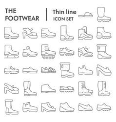 footwear thin line icon set boots symbols vector image