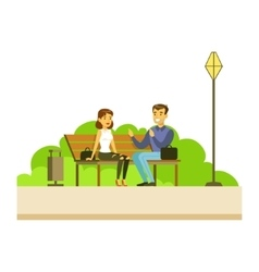 Friends Chatting Sitting On The Bench Part Of vector image