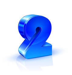 Glossy blue two 2 number 3d on white vector