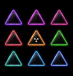 glowing colorful set neon rounded triangles vector image