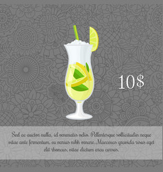 Green tea cocktail card template vector