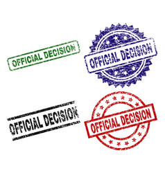 Grunge textured official decision seal stamps vector