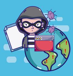 Hacker around the world vector