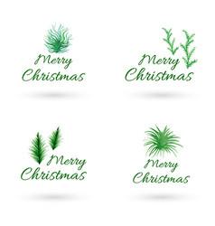 Hand drawn watercolor christmas logo designs vector