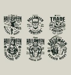 Happy halloween vintage monochrome prints vector