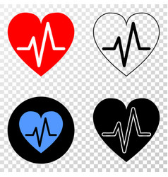 heart pulse eps icon with contour version vector image