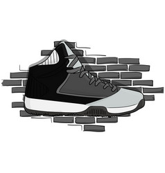 High sneakers black-gray lacing on the background vector
