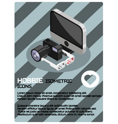 Hobbie color isometric poster vector