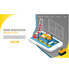 home renovation landing page website vector image
