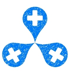 Hospital Map Markers Grainy Texture Icon vector