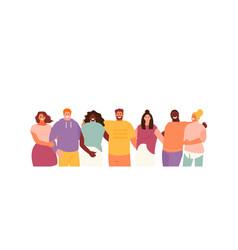 Hugging multicultural people vector