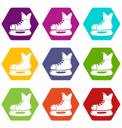 ice hockey skate icons set 9 vector image