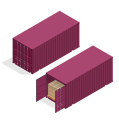 Isometric large metal containers for vector