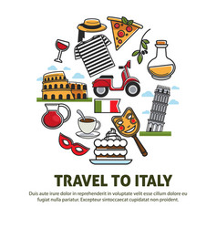 italy sightseeing landmarks and famous travel vector image