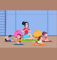 kids in yoga class cartoon children vector image