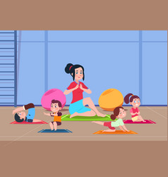 kids in yoga class cartoon children with vector image