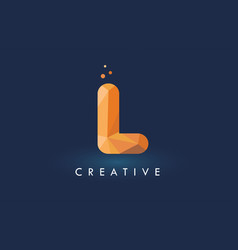 L letter with origami triangles logo creative vector