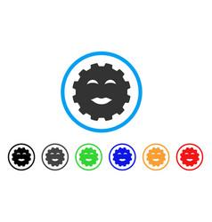 Lady pleasure smiley gear icon vector