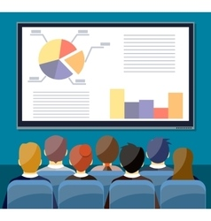 Large tv screen with chart pie do presentation t vector