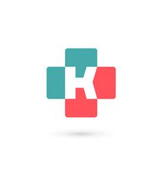 Letter k cross plus medical logo icon design vector