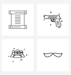 Line icon set 4 modern symbols chinesyear vector