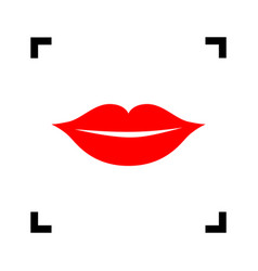 Lips sign red icon inside vector