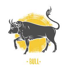 logo of bull coat of arms heraldry vector image