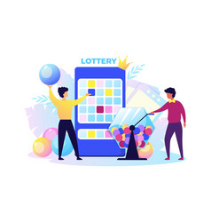 lottery men twist box and get out winning balls vector image