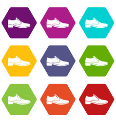 men shoe icon set color hexahedron vector image
