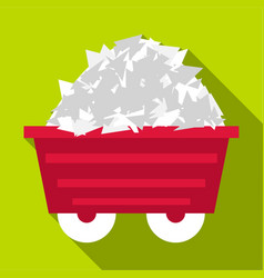 Mine cart icon flat style vector