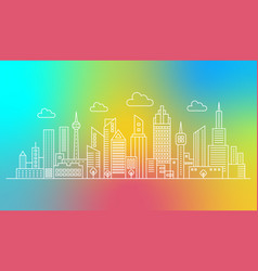 modern outline line city skyscrapers on trendy vector image