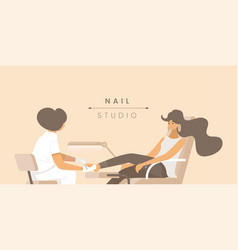 Nail studio flat banner template vector