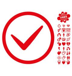 Ok icon with valentine bonus vector