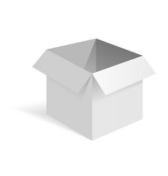 opened white paper box white mockup side view vector image