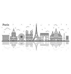 Outline paris france city skyline with historic vector