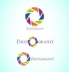 Photography shutter apperture camera logo vector image