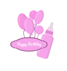 Pink bottle with slots and label on white vector