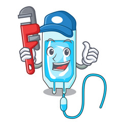 Plumber infussion bottle mascot cartoon vector